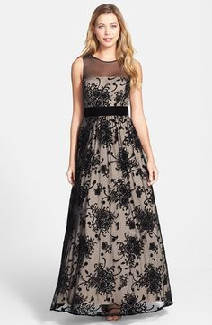 Free shipping and returns on Eliza J Illusion Yoke Mesh Ball Gown at Nordstrom.com. Artistic floral patterns overlay the full, statuesque silhouette of this romantic ballgown.