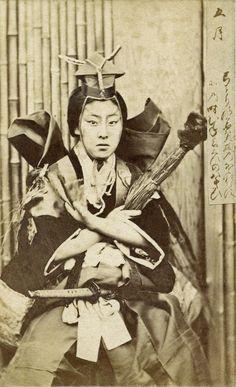"Meigi (famous geisha) Era Kayo dressed as a 'Shibaraku' Kabuki warrior, May 1870s || ""Twelve Transfigurations of a Geisha"" series"
