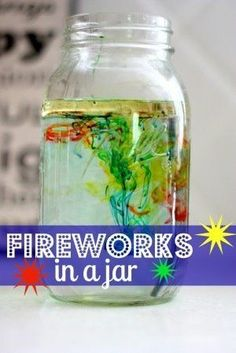 It's a quick easy and fun activity for the LOs! Sll you need us: oil, water, and food coloring! Fill a jar 3/4 of the way full with warm water. In a separate bowl, mix a 3-4 tablespoons of oil and several drops of different colors of food coloring. Use a fork to gently mix the oil and food coloring together. Then pour the oil mixture into the jar. The food coloring will slowly sink out of the oil and into the water. When this happens, it will expand and begin to mix with the other colors.