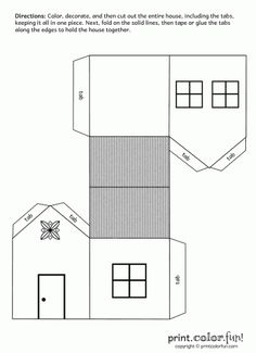 House cutout craft | Print. Color. Fun! Free printables, coloring pages, crafts, puzzles & cards to print
