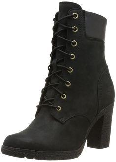 "Timberland Women's EK Glancy 6"" Heel Boots Black Lace-Up 8432A #Timberland #FashionAnkleHeel"