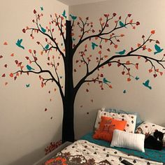 Large tree wall decal with personalized name or quote Corner Decal with flying birds Nursery Wall Mural Sticker Tree Wall Decals 065 Tree Wall Painting, Simple Wall Paintings, Creative Wall Painting, Creative Wall Decor, Creative Walls, Wall Art Designs, Wall Design, Bedroom Designs, Design Design