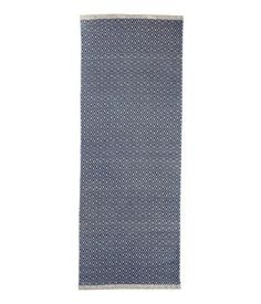 Dark blue natural white. Rectangular rug in woven cotton fabric with  printed pattern at f4850bcd24bc8