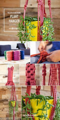 Taller: Plant hanger de macramé. Todo lo antiguo vuelve a estar de moda y el macramé no iba a ser menos. Actualmente, este tradicional juego de cuerdas entrelazadas se utiliza para la realización de muchos proyectos 100% handmade.
