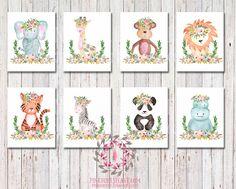 Set Lot of 8 Zoo Boho Bohemian Garden Floral Nursery Baby Girl Room Playroom Prints Printable Print Wall Art Home Decor