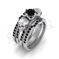 Gothic Engagement Ring With Double Band Set 2 60 Ct Black Moissanite Round 925 Sterling Silver 14k White Gold Plated Skull Wedding