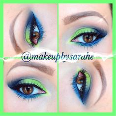 Lime and navy makeup