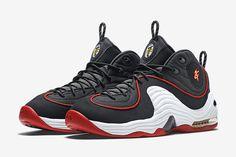 "Men Nike Air Penny 2 ""Miami Heat"" Black/White-University Red 333886-002 #Nike #AthleticSneakers"