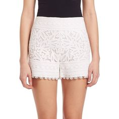 Tory Burch Kinsley Lace Shorts ($395) ❤ liked on Polyvore featuring shorts, apparel & accessories, white, scalloped edge shorts, tory burch shorts, scalloped shorts, tory burch and slim fit shorts