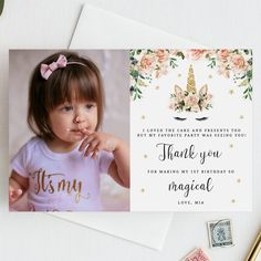 Unicorn Birthday Thank You Card Template Photo First Instant Templett B04