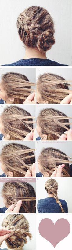 Cute side French braid into a bun. { up do }