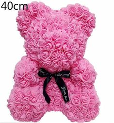 Rose Bear Teddy Bear Artificial Foam Roses for Window Display Forever Rose Bear Valentines, Valentine Special, Valentine Day Gifts, Light Pink Rose, Green Rose, Bear Wedding, Forever Rose, Cute Rose, Foam Roses