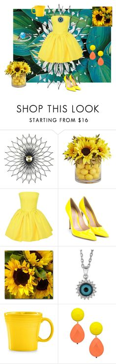 """""""Sunflower Dress"""" by thedecorationqueen on Polyvore featuring Vitra, Pier 1 Imports, Martin Grant, Gianvito Rossi, Trademark Fine Art, Fiesta, David Aubrey, LE VIAN, women's clothing and women's fashion"""