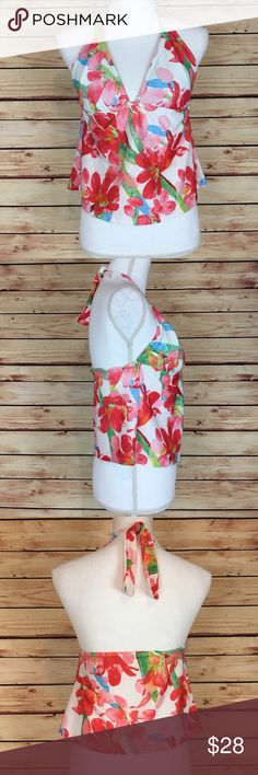 Athena Tankini Halter Swim Top Floral Pink White Athena tankini top. White with pink, red, green, and blue floral print. Halter tie neck. V neck. Cropped. Size 14. Excellent preowned condition with no flaws. Athena Swim