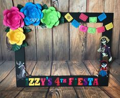 Just love the festive colors! Coco theme photo booth frame for Izzy's Fiesta ! Mexican Birthday Parties, Mexican Fiesta Party, Fiesta Theme Party, Birthday Party Themes, 2nd Birthday, Birthday Ideas, Birthday Frames, Birthday Photos, Coco Photo