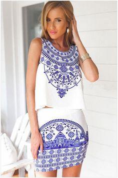 Porcelain Tank Top Skirt Set from emmadella.com