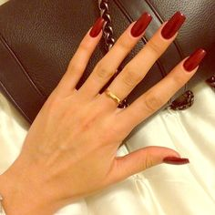 """If you're unfamiliar with nail trends and you hear the words """"coffin nails,"""" what comes to mind? It's not nails with coffins drawn on them. It's long nails with a square tip, and the look has. Dark Nails, Long Nails, My Nails, Dark Color Nails, Red Acrylic Nails, Acrylic Nail Designs, Matte Nails, Acrylic Colors, Winter Acrylic Nails"""