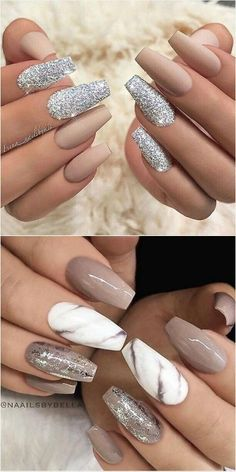 Nail Art Trends 2018 # De beaux ongles en acrylique - WooHoo - Madie U. Classy Nails, Stylish Nails, Trendy Nails, Sophisticated Nails, Simple Nails, Marble Nail Designs, Acrylic Nail Designs, Easy Nail Designs, Pretty Nail Designs