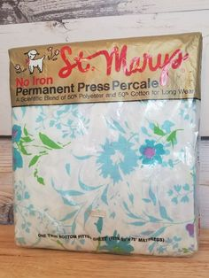 St. Marys Vintage Blue Floral Mayfair Twin Fitted Sheer Deadstock Flower Power  #StMarys