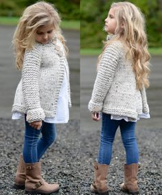 Sweater/jacket, with back pleat, must do Knitting For Kids, Baby Knitting, Crochet Baby, Knit Crochet, Sweater Knitting Patterns, Crochet Cardigan, Sweater Coats, Sweater Jacket, Kids Coats
