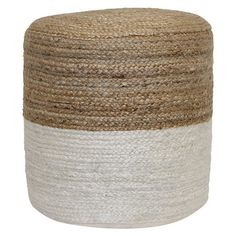 Threshold Round Pouf - Ivory/Tan