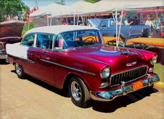 1955 Chevy 2 Dr Post Sedan jigsaw puzzle in Cars & Bikes puzzles on TheJigsawPuzzles.com