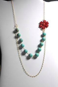 Statement Necklace Turquoise Howlite and Resin by TrudyAnnDesigns, $22.00