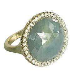 Dalben Grey Faceted Sapphire Rose Cut Diamond Satin Gold Ring