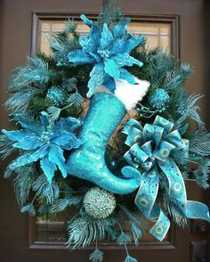 Turquoise Christmas Wreath, Peacock Wreath, Peacock Christmas Decor, Stocking Wreath christma wreath, christmas wreaths, silver christmas, heaven, color, red poinsettia, bows, christmas themes, christmas trees