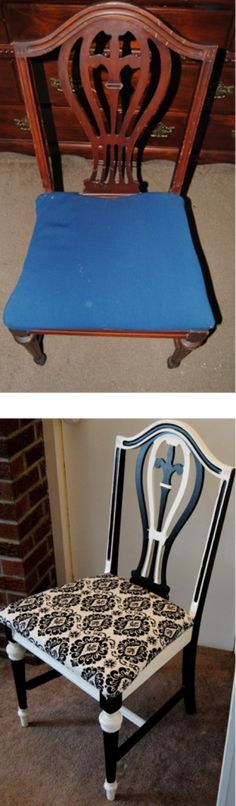 On the Upcycle Before and After: How to re-style a Thrift Store chair using paint, fabric and Mod Podge.