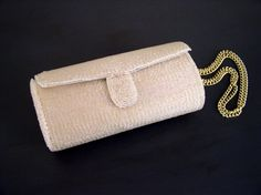 1940/'s Gold Embroidered Purse with Brass chain and Caramel Silk Lining