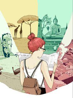Laura Pérez ilustró, en el suplemento viajero de The Washington Post, el reportaje titulado 'Dating on vacation: Dead end, escape from routine or a little of both?'