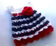 10 favorite red, white and blue #crochet patterns: baby dress pattern for sale on Etsy by paintcrochet