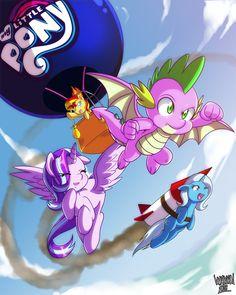 #1688037 - alicorn, alicornified, artist:danmakuman, race swap, rocket, safe, spike, spoiler, spoiler:s08, starlicorn, starlight glimmer, sunset shimmer, toy interpretation, trixie, trixie's rocket, winged spike, xk-class end-of-the-world scenario - Derpibooru - My Little Pony: Friendship is Magic Imageboard