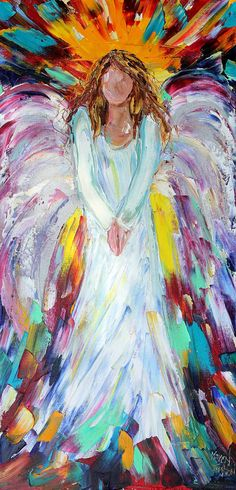 Original oil painting Angel of Hope and Light by Karensfineart