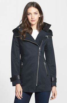 Mackage+Leather+Trim+Asymmetrical+Zip+Hooded+Coat+available+at+#Nordstrom