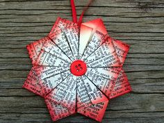 Red and Cream Book Paper Christmas Star Ornament by MyGinghamDog, $6.50