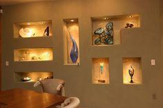 Modern Home Design Eqquiped with a Wall Niches Niche Design, Wall Decor Design, Ceiling Design, Interior Stairs, Interior Design Living Room, Interior Decorating, Niche Decor, Flur Design, Modern House Design