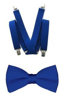 Royal Blue Suspender and Bowtie Set