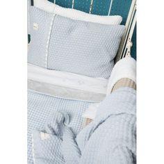 wiegdeken wafel teddy Oslo - Baby Blue - Silvergrey