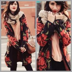 """❤️Free People Flower Power Cardi❤️  This sweater gets a MILLION compliments! Worn a handful of times. I only consider offers through the offer button, NO trades!  Eye-catching roses pattern this long and cozy cardigan, which is detailed with oversized, yet discreet, hip pockets. The tapered shawl collar frames the placket and fastens mid-way with a single snap.  57% acrylic/18% nylon/13% wool/12% alpaca. Hand wash. Length: 35"""" Free People Sweaters Cardigans"""