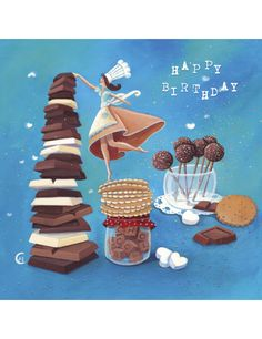 "Marie Cardouat square card (14 cm) ""Happy Birthday chocolats"""