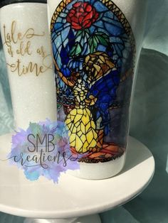 Stained Glass Beauty and the Beast tumbler- glitter- Ozark Trail- Yeti- coffee cup-travel mug-stainl Diy Tumblers, Custom Tumblers, Glitter Tumblers, Vaso Yeti, Beauty And The Beast Diy, Glass Art Pictures, Yeti Cup, Cute Cups, Tumbler Designs