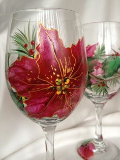 Hand painted Poinsettia wine glasses, set of 4, 20 oz. $68.00, via Etsy.