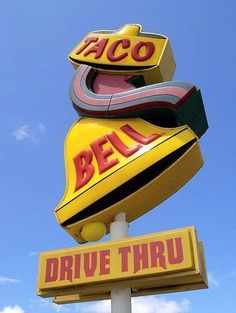 Old Taco Bell sign. Old School ! I remember this style of sign, when I was little.