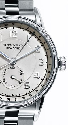 The special edition platinum Tiffany CT60™ Calendar watch from #TiffanyBlueBook is adorned with 40 baguette diamonds that glimmer like sunlight on water.
