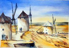 """ La Mancha , Spagna.""acquerello 35x51 di Lorenza Pasquali Paintings. www.lorenzapasquali.it Copyright © Lorenza Pasquali"