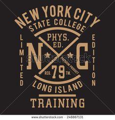 Sport college training typography, t-shirt graphics, vectors - stock vector