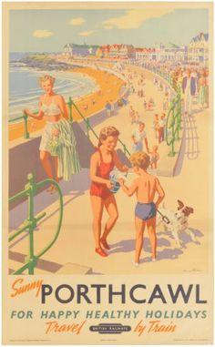 GBP - British Railways Porthcawl Vintage Railway Poster Superb Quality (B) Posters Uk, Train Posters, Railway Posters, Illustrations And Posters, Vintage Advertising Posters, Vintage Travel Posters, Vintage Advertisements, Poster Vintage, British Travel