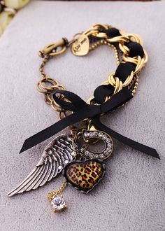Vintage Gold And Black Alloy Bracelet With Nice Artificial Crystal And Leopard Pattern